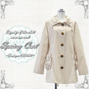 Ladies coat ステンカラーデザイン spring coat size m, L color and beige