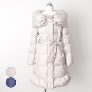 レディース ボリューム襟 ダウンコート 中綿 かわいい 女性 アウター 冬物 カジュアル リボン付き【ベージュ/ネイビー】【送料無料】