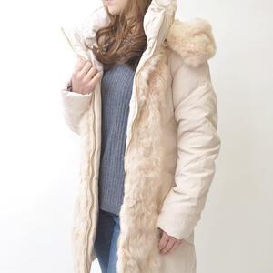 クラシカルダウンコート ファー使い ベルト付き レディースファッション きれいめ 30代 40代 おしゃれ かわいい【ベージュ】 【送料無料】