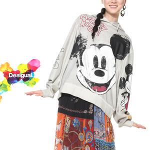 セール SALE 30%off Desigual デシグアル レディース ミセス ファッション スウェット プルオーバー ディズニー ミッキー オーバーサイズ 30代 40代 50代【ベージュ】【M/L/XL/大きいサイズ】【18WWSK31】