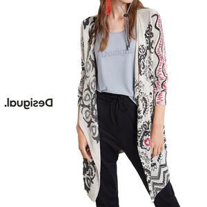Desigual デシグアル レディース ミセス ファッション カーディガン 羽織 着流し カジュアル 総柄 30代 40代 50代【ベージュ】【M/L/XL/大きいサイズ】