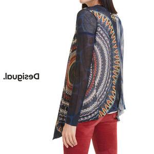 Desigual デシグアル レディース ミセス ファッション カーディガン 羽織 着流し カジュアル 総柄 30代 40代 50代【ネイビー】【M/L/XL/大きいサイズ】