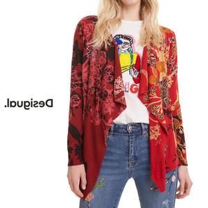 Desigual デシグアル レディース ミセス ファッション カーディガン 羽織 着流し カジュアル 総柄 30代 40代 50代【レッド】【M/L/XL/大きいサイズ】