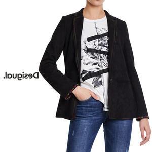 Desigual デシグアル レディース ミセス ファッション アウター ジャケット ブレザー テーラード スエード ベルベット カジュアル 30代 40代 50代【ブラック】【S/M/L/XL/小さいサイズ/大きいサイズ】