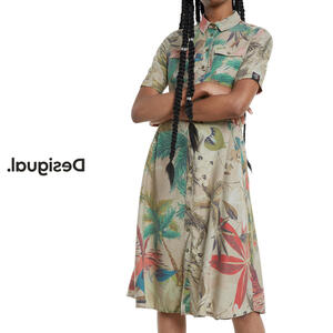 Desigual デシグアル レディース ミセス ファッション ワンピース ワンピ シャツワンピ 花柄 前開き カジュアル 30代 40代 50代【ベージュ】【M/L】