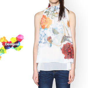 Sale SALE 30%off desigual Lady's tops American sleeve floral design tank  top spring clothing summer clothing women's wear fashion casual white gift