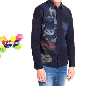 desigual メンズ 襟付きシャツ ディズニー ミッキー ヴィンテージ風 デニムシャツ ギフト プレゼント【ネイビー】【M/L/XL/大きいサイズ】