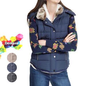 セール SALE 30%off Desigual デシグアル レディース ミセス ファッション アウター ジャケット 中綿 ファー 花柄 30代 40代 50代【ベージュ/ネイビー/ブラック】【M/L/XL/大きいサイズ】【18WWEW58】
