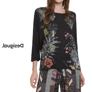 Desigual デシグアル レディース ミセス ファッション トップス 長袖 花柄 30代 40代 50代【ブラック】【S/M/L/XL/小さいサイズ/大きいサイズ】