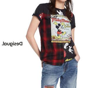 Desigual デシグアル レディース ミセス ファッション Tシャツ トップス 半袖 チェック柄 ミッキーマウス ディズニー 30代 40代 50代【ブラック】【M/L/XL/大きいサイズ】