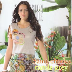 フランス直輸入 CaroleGrey キャロルグレイ 配色デザイン半袖カットソー サイズ 38 Mサイズ40 Lサイズ42 LLサイズ44 3Lサイズレディース ミセス ファッション完売商品8nOP0wk