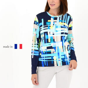 【Made in france】レディース 丸首カットソー 長袖 総柄 ミセスファッション カジュアル 50代 60代 高級 プレゼント 贈り物 【送料無料】