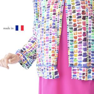 【Made in FRANCE】鮮やかパネルプリント 8分袖カーディガン 羽織り 高級 ミセスファッション 40代 50代 60代 婦人服 お洒落 プレゼント 贈り物 贈答品【送料無料】