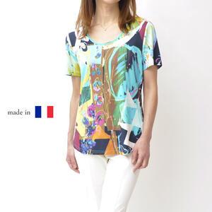 レディース 夏物Tシャツ 40代 50代 おしゃれ ファッション ミセス 鮮やか ギフト プレゼント 大きいサイズ【送料無料】