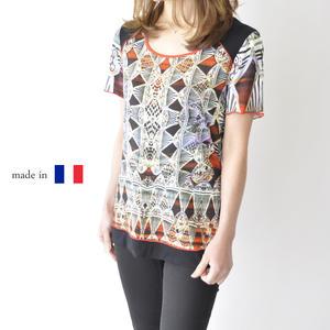 フランス製 夏物 カットソー レディース 半袖 Tシャツ 綺麗 カラフル ミセス 50代 60代 プレゼント ギフト 母の日 高deBoCxWr