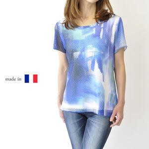 【フランス製】ミセスファッション 半袖Tシャツ 40代 50代 プレゼント 母の日 高級 ブランドカットソー ブルー【サイズ/M/L/XL/XXL】