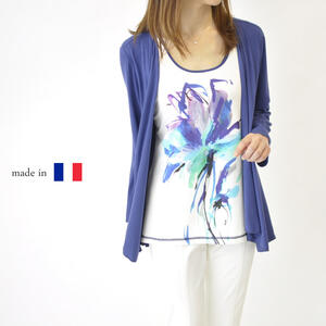 【フランス製】フェイクレイヤード 7分袖カットソー Tシャツ 春物 夏物 羽織り ミセスファッション 高級 プレゼント 母の日 贈り物 50代 60代 ブルー【送料無料】