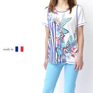 【フランス製】ボタニカル柄Tシャツ カットソー Tシャツ 高級 レディース 女性 ミセスファッション 50代 60代 鮮やか 大きいサイズ ブルー 母の日 プレゼント【送料無料】
