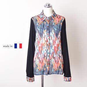 フランス製 袖カット使い切り替えブラウス ミセスファッション ギフト プレゼント インポート レディース 50代 60代 お洒落 高級カジュアル 送料無料trdshQ