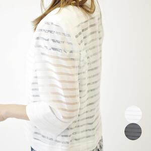ノーカラージャケット レディース 7分袖 40代 50代 夏物 夏服 おしゃれ ミセスファッション【ホワイト/ブラック】【送料無料】