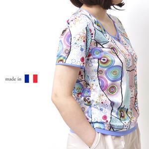 【フランス製】鮮やかなカラーパレット 半袖カットソー 半袖 夏物 Tシャツ ミセスファッション 50代 60代 シニア プレゼント 母の日【送料無料】
