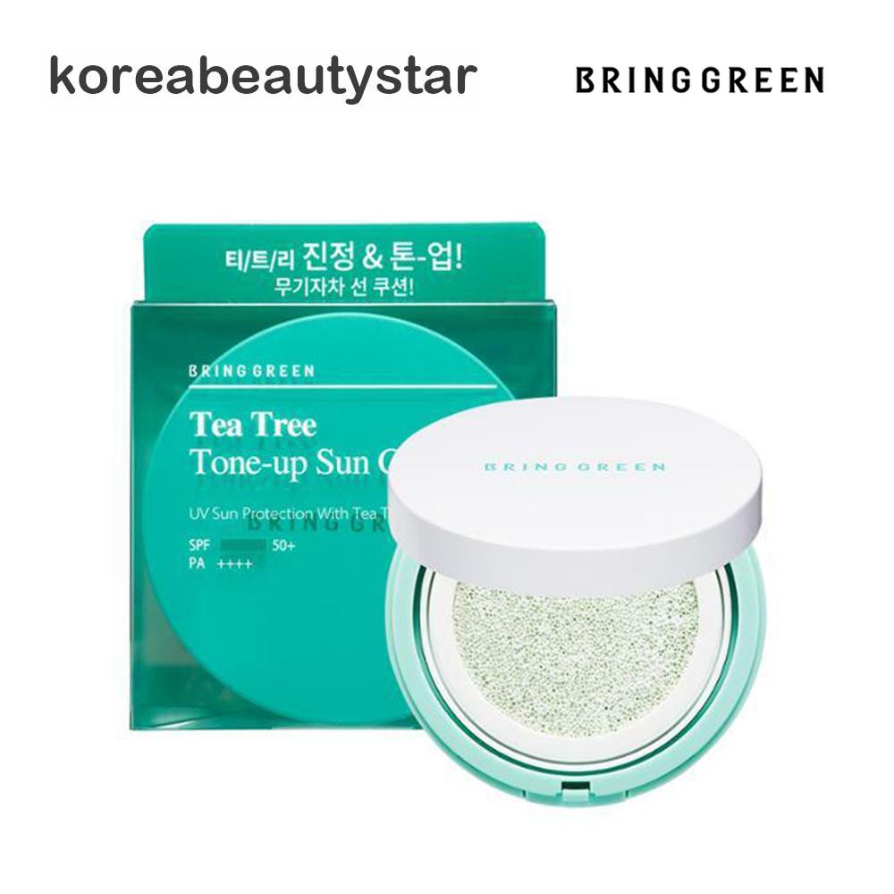 Bring Green Tea Tree Tone-up Sun 人気上昇中 Cushion 大規模セール ブリンググリーン SPF50+PA++++ 紫外線遮断 15g 韓国コスメ ティーツリートーンアップサンクッション15g 送料無料