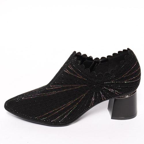 スタッズブーティ レディース シューズ スタッズ 靴 太めヒール 7cm シューズ レディース ブーティー 太いヒール 靴 ローカット ブーティ スタッズ レディース ヒールシューズ キラキラ 靴 ローカット シューズ ヒール7cm ジップアップ 靴 スタッズ VOCE