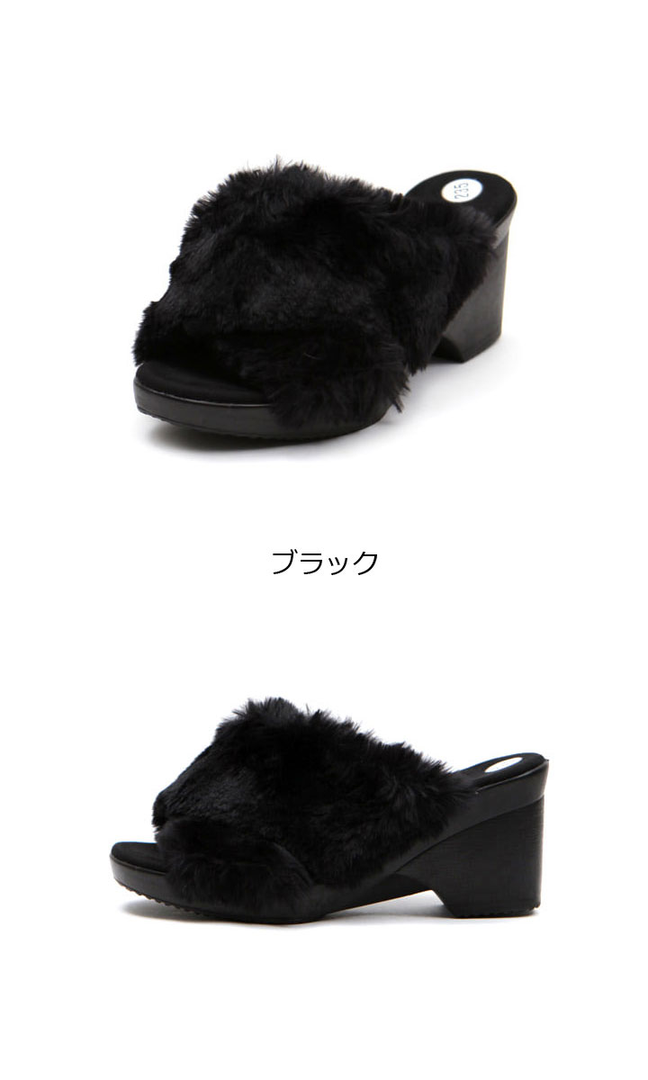 really comfortable factory outlets incredible prices koreavoce: Four-colored heel shoes fur shoes large heel sandals ...