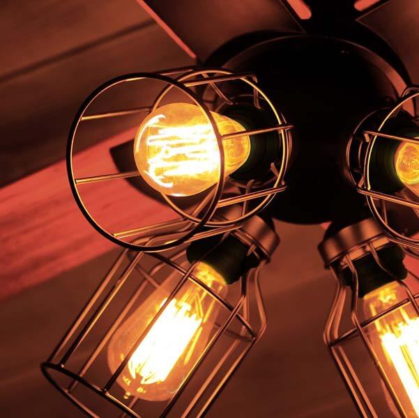 【クーポン配布中※期間限定】【送料無料】シーリングファン【エジソン電球付き】/シーリングファン ライト 電気 照明 昼光色 モダン リバーシブル 木目調 ヴィンテージ リモコン付き 回転方向切り替え可能