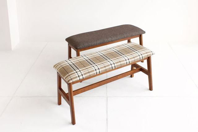 10/1 20:00 Bench / Bench Settee Natural Wood Cloth Upholstered Dining