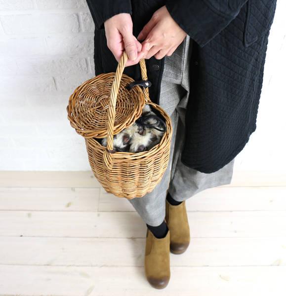 【ビュレ Beau're】アラログ フェイクファー巾着 ふた付き かごバッグ・B-12634-1561702【レディース】