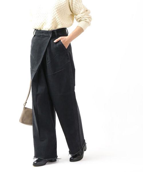 Lee(リー)コットンデニム フロントラップ テーパード デニムワイドパンツ ラップパンツ WRAP PANTS・LL6072-4251902【レディース】【■■】