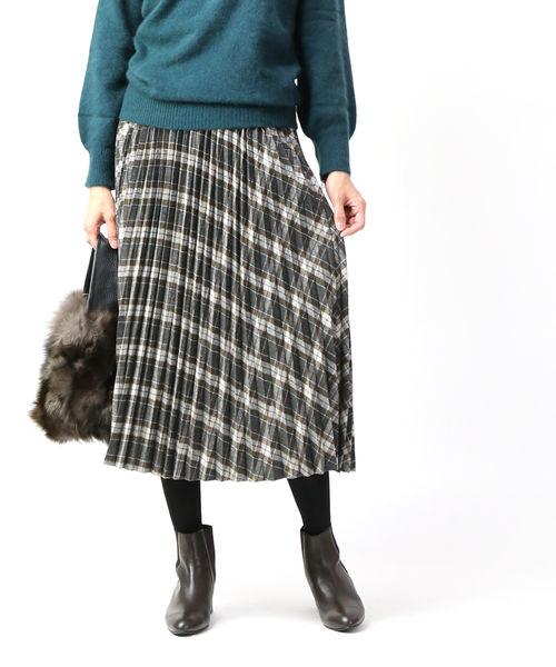 kelen(ケレン)ウール混 チェック プリーツスカート アコーディオンスカート Ritz・LKL19WSK1-1571902【レディース】【■■】