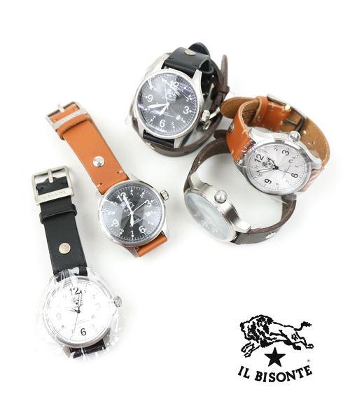 IL BISONTE(イルビゾンテ)レザー 型押しレザー カレンダー付き クォーツ式 腕時計 リストウォッチ(L)・5422310597-A-0062001【メンズ】【レディース】【■■】