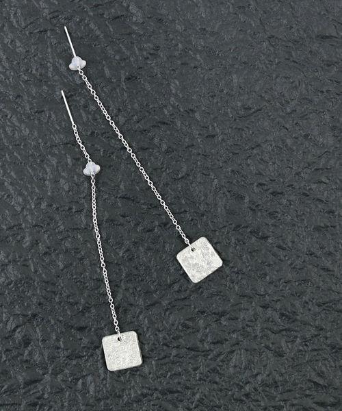 送料無料 期間限定特別価格 2021年春夏新作 賜物 Nagae+ ナガエプリュス 錫製 シルバーピアス スクエアピアス TIN BREATH レディース 10×10mm ■■ earring Pierced 1F-W HOME-019-SOJ-4002101