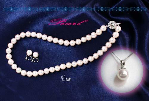 【すぐに使える10%OFFクーポン】●伊勢志摩真珠・大粒9.0mm珠「三点セット」!