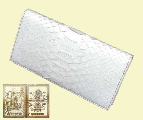 内祝い ダイヤモンドパイソン高級総革製 白蛇 金運長財布 護符付 激安通販