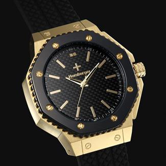 【すぐに使える10%OFFクーポン】オムバーガー(Homberger)デザイヤー時計 【送料無料】 ブラック×ゴールドカラーがインパクトを発揮!オムバーガー伯爵の名にふさわしい、気品のあるデザインのクォーツウォッチが登場!