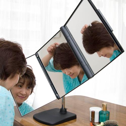 【すぐに使える10%OFFクーポン】NEWスリーウエイ回転ミラー 【送料無料】大きくて明るい!自然な色で見られる鏡!