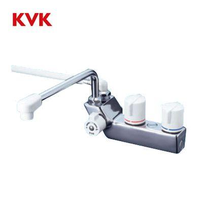 【送料無料】KVK デッキ止水2ハンドルシャワー KF207RR3 300mm パイプ付(右側シャワー)