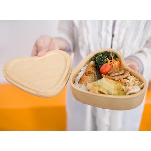 1段木製お弁当箱 ハート型