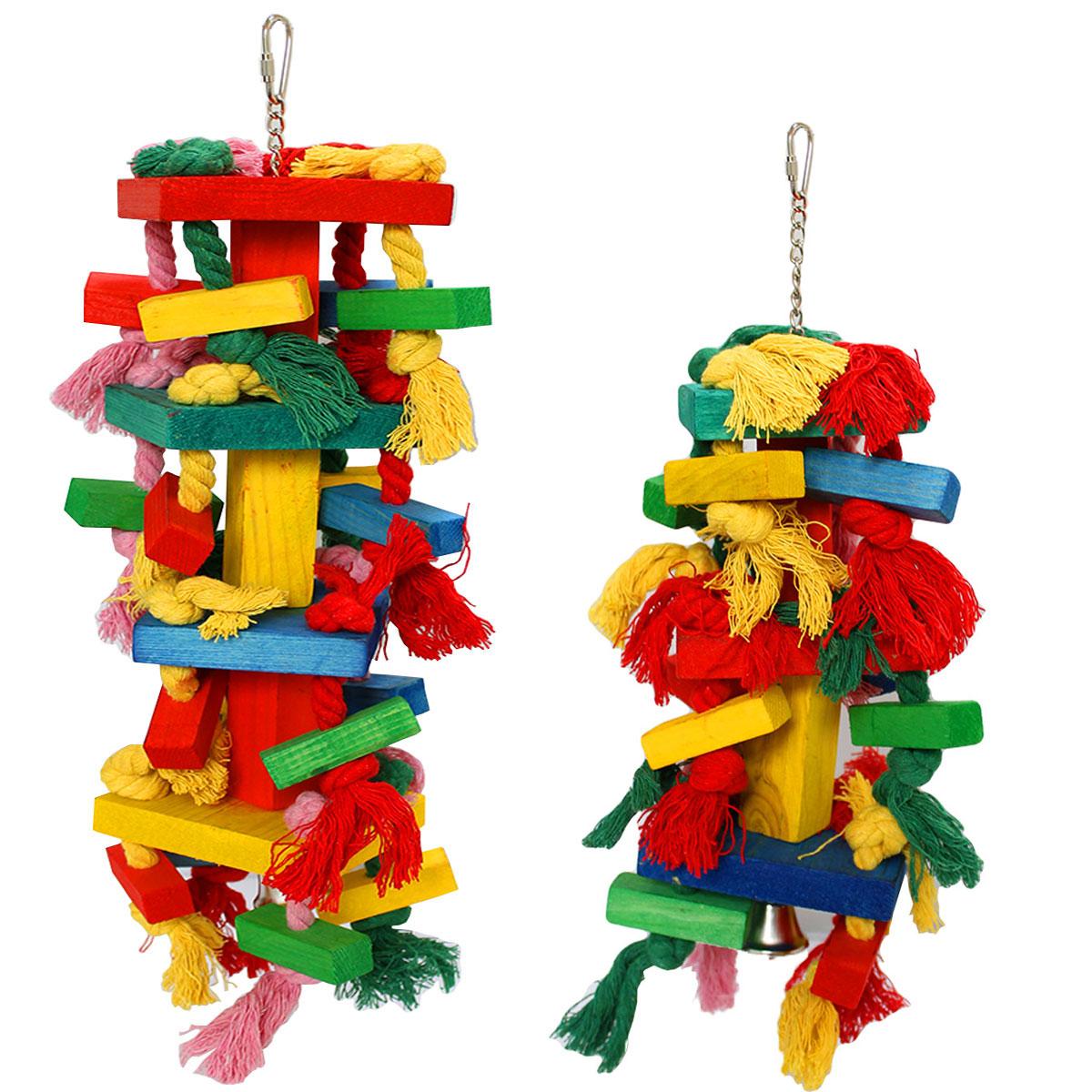 インコ おもちゃ 吊り下げ とまり木 鈴 かわいい 鳥 オウム 噛む ロープ 小鳥 木製 ストレス解消 アスレチック 玩具 セキセイ ゲージ 飾り