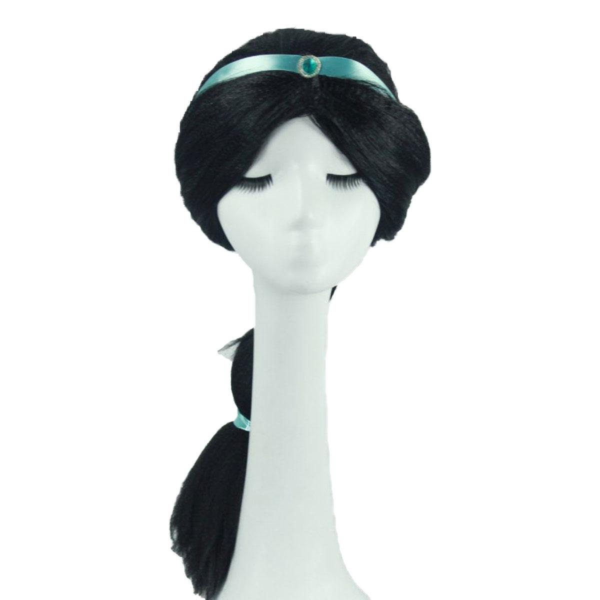 アラジン 大規模セール プリンセス ジャスミン 王子 ウィッグ コスプレ アラビアン ロング 鬘 女王 送料無料激安祭 かつら 黒髪 ハロウィン