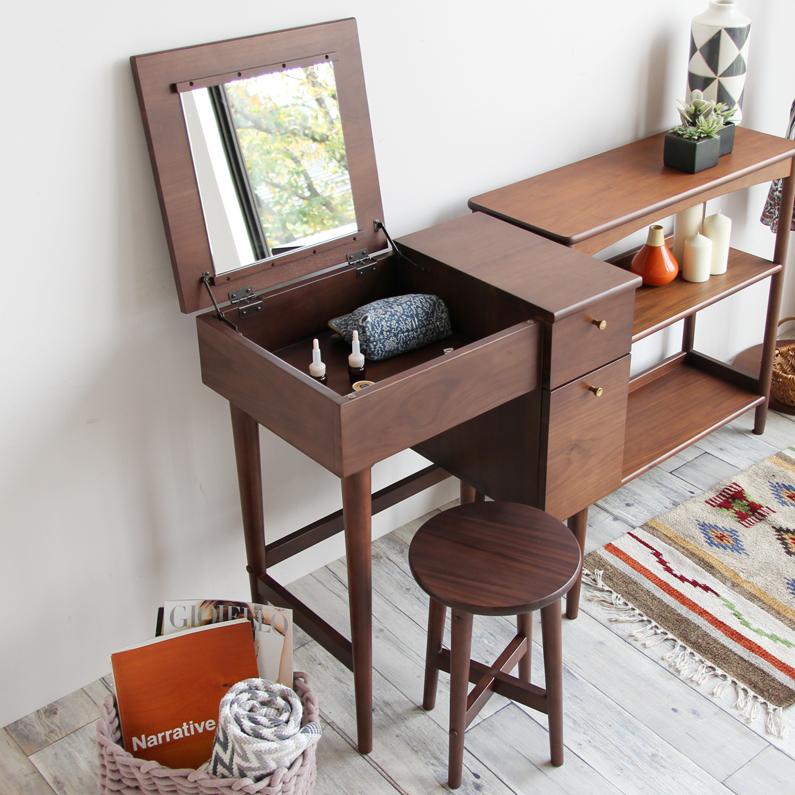 ドレッサー 収納 化粧 ミラー 鏡面 デスク 鏡面デスク 椅子 机 コンパクト ブラウン 北欧 おしゃれ カフェ かわいい スツール 省スペース emo Dresser&Stool EMM-3140BR