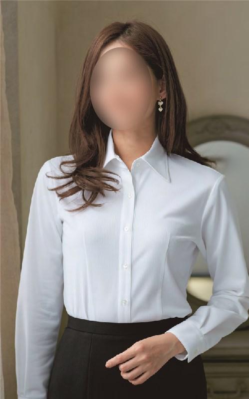 【01165】【enjoie/エンジョア】【女性用/レディース】事務服 長袖 ブラウス シャツ かっこいい系 ホームクリーニング