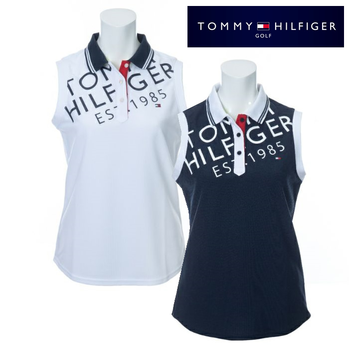 ●2020 TOMMY HILFGER 春夏ウェア【レディース】トミーヒルフィガーBIAS LOGO ノースリーブ ポロシャツ THLA009