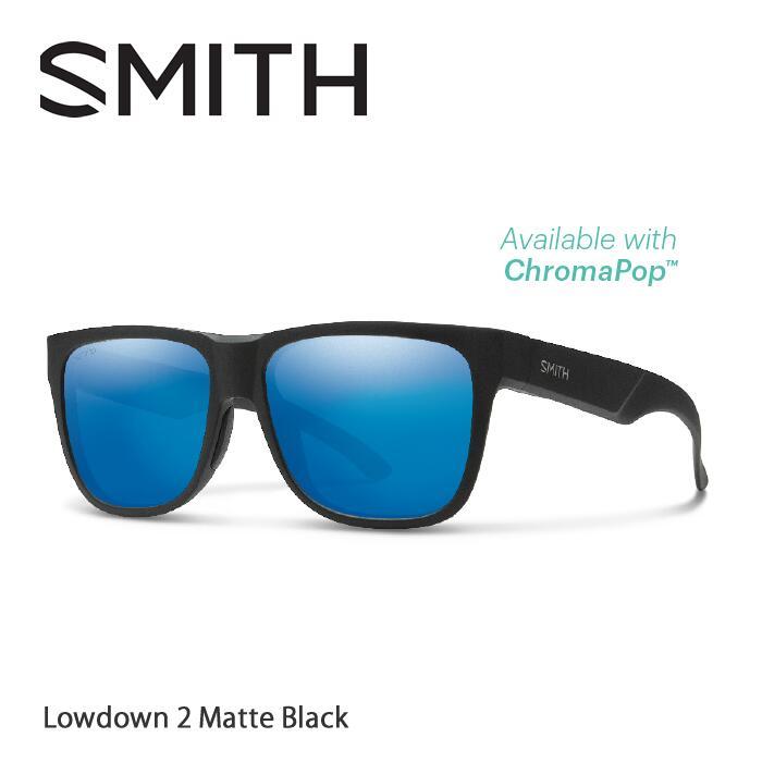 SMITH スミス サングラスLowdown お歳暮 2 Matte Black Polarized Mirror 偏光 正規販売店 Blue ChromaPop