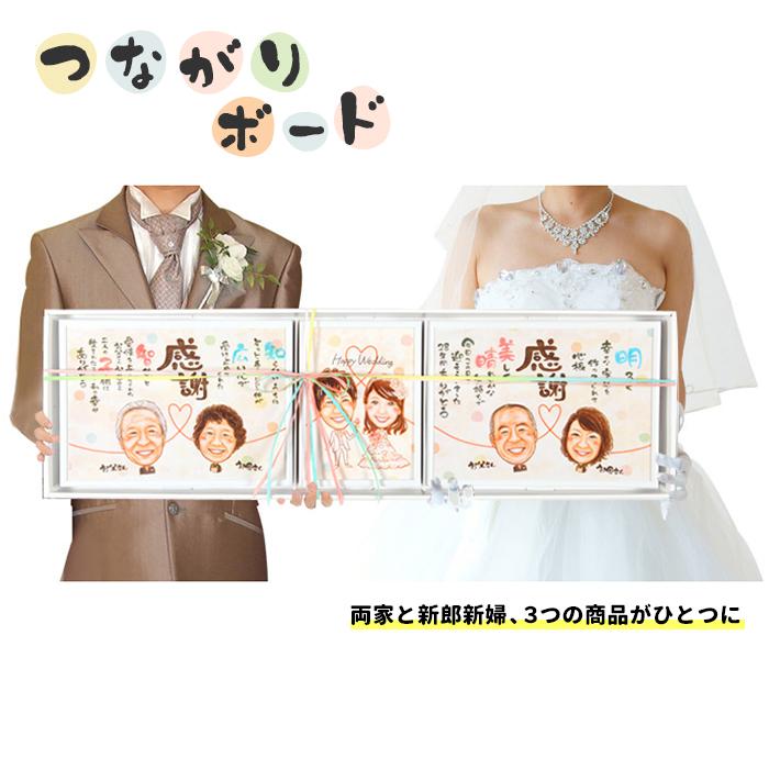 【つながりボード】 結婚式 両親 プレゼント 似顔絵サンクスボード 結婚式両親贈呈品 両親プレゼント ウェルカムボード
