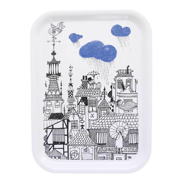 ミッドセンチュリーを代表するデザインナー 祝日 スティグリンドベリの挿絵モチーフのトレイ 北欧 インテリア 大好評です 雑貨 SCANDIUM スカンジウム 北欧デザイン スティグリンドベリ Stig Lindberg rain 絵本モチーフ トレイ