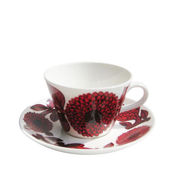 GUSTAFSBERG(グスタフスベリ) RED ASTER ( レッドアスター )コーヒーカップ&ソーサー / 北欧食器 復刻版 送料無料